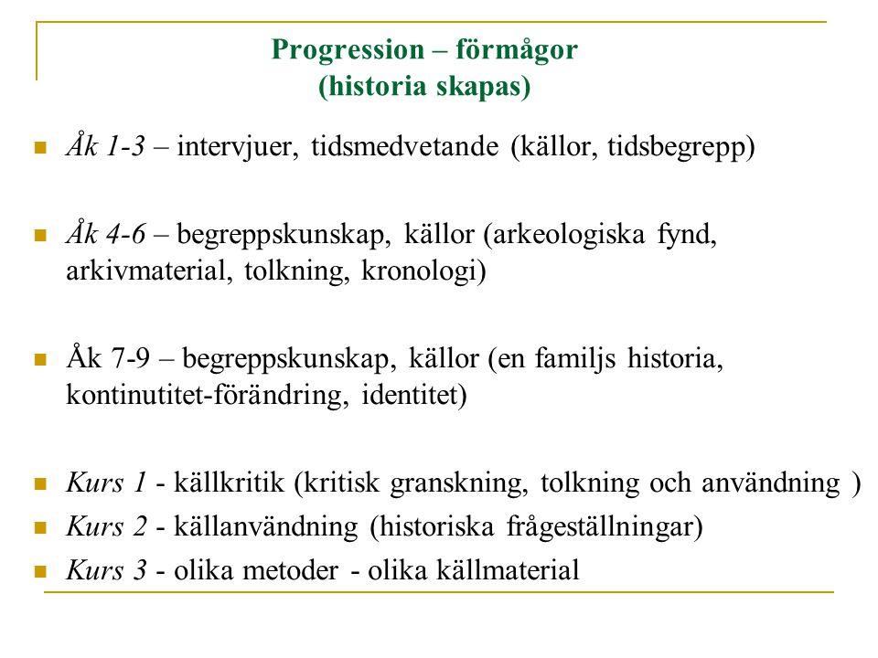 Progression – förmågor (historia skapas) Åk 1-3 – intervjuer, tidsmedvetande (källor, tidsbegrepp) Åk 4-6 – begreppskunskap, källor (arkeologiska fynd, arkivmaterial, tolkning, kronologi) Åk 7-9 – begreppskunskap, källor (en familjs historia, kontinutitet-förändring, identitet) Kurs 1 - källkritik (kritisk granskning, tolkning och användning ) Kurs 2 - källanvändning (historiska frågeställningar) Kurs 3 - olika metoder - olika källmaterial