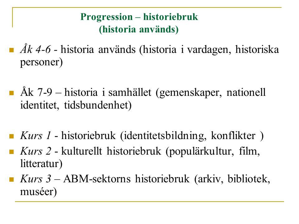 Progression – historiebruk (historia används) Åk 4-6 - historia används (historia i vardagen, historiska personer) Åk 7-9 – historia i samhället (gemenskaper, nationell identitet, tidsbundenhet) Kurs 1 - historiebruk (identitetsbildning, konflikter ) Kurs 2 - kulturellt historiebruk (populärkultur, film, litteratur) Kurs 3 – ABM-sektorns historiebruk (arkiv, bibliotek, muséer)