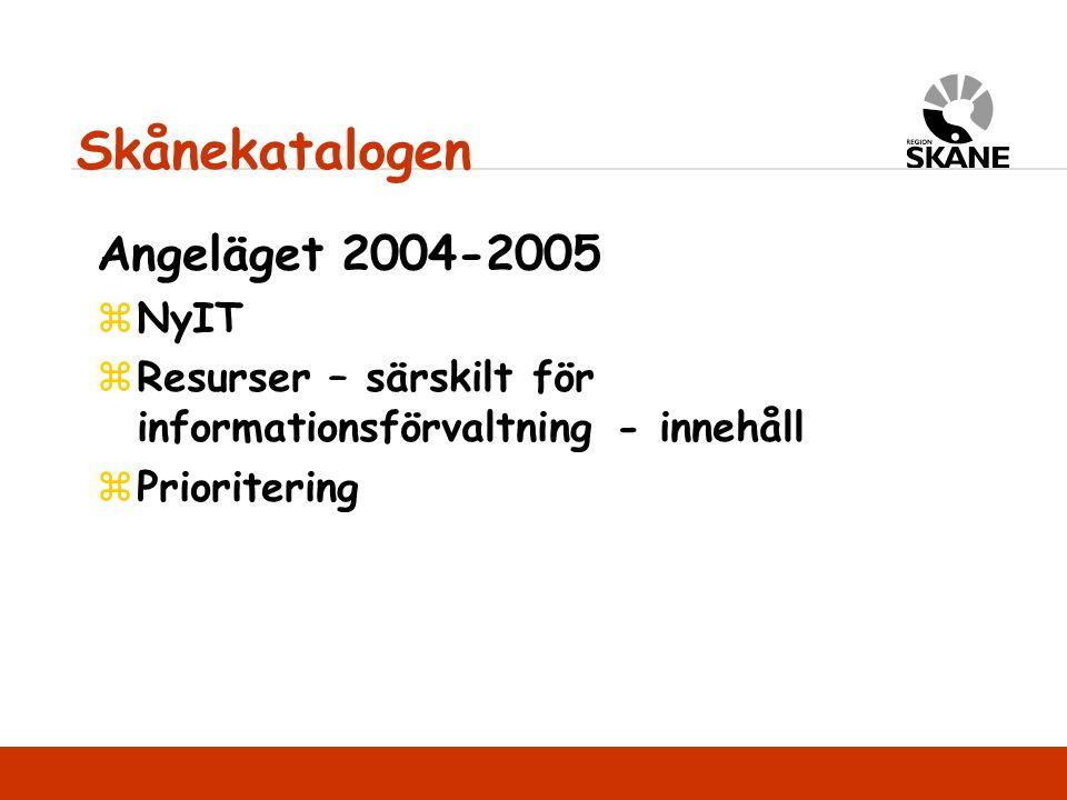 Angeläget 2004-2005 zNyIT zResurser – särskilt för informationsförvaltning - innehåll zPrioritering Skånekatalogen