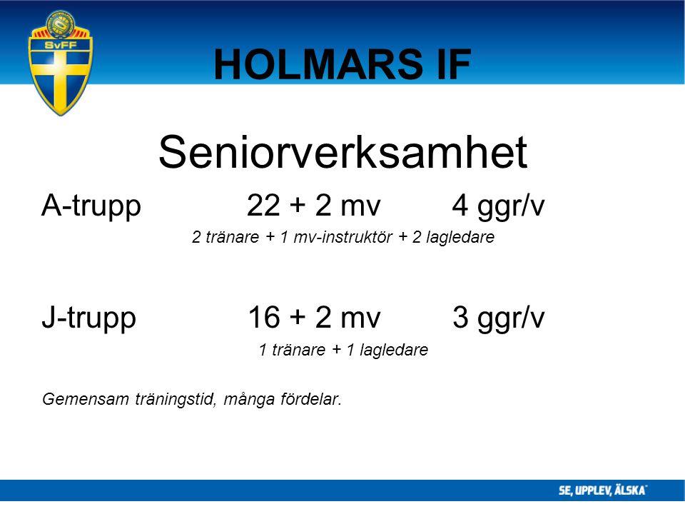 HOLMARS IF Seniorverksamhet A-trupp22 + 2 mv4 ggr/v 2 tränare + 1 mv-instruktör + 2 lagledare J-trupp16 + 2 mv3 ggr/v 1 tränare + 1 lagledare Gemensam