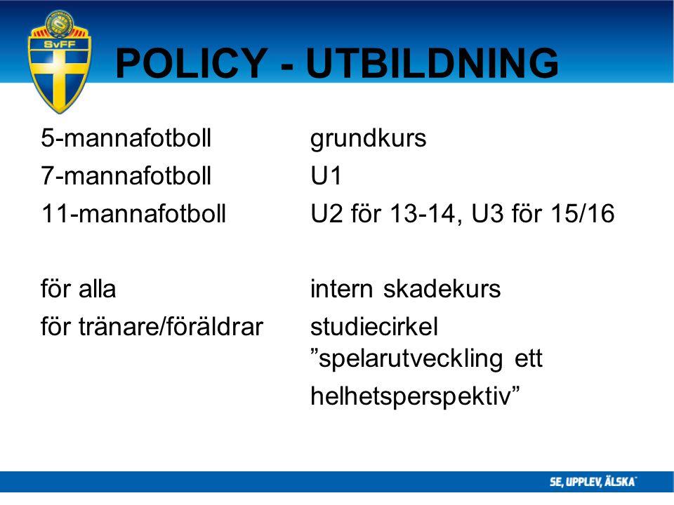 POLICY - UTBILDNING 5-mannafotboll grundkurs 7-mannafotbollU1 11-mannafotbollU2 för 13-14, U3 för 15/16 för allaintern skadekurs för tränare/föräldrar
