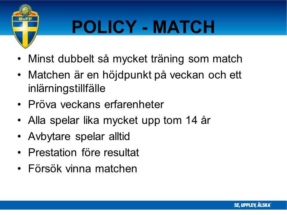 POLICY - MATCH Minst dubbelt så mycket träning som match Matchen är en höjdpunkt på veckan och ett inlärningstillfälle Pröva veckans erfarenheter Alla
