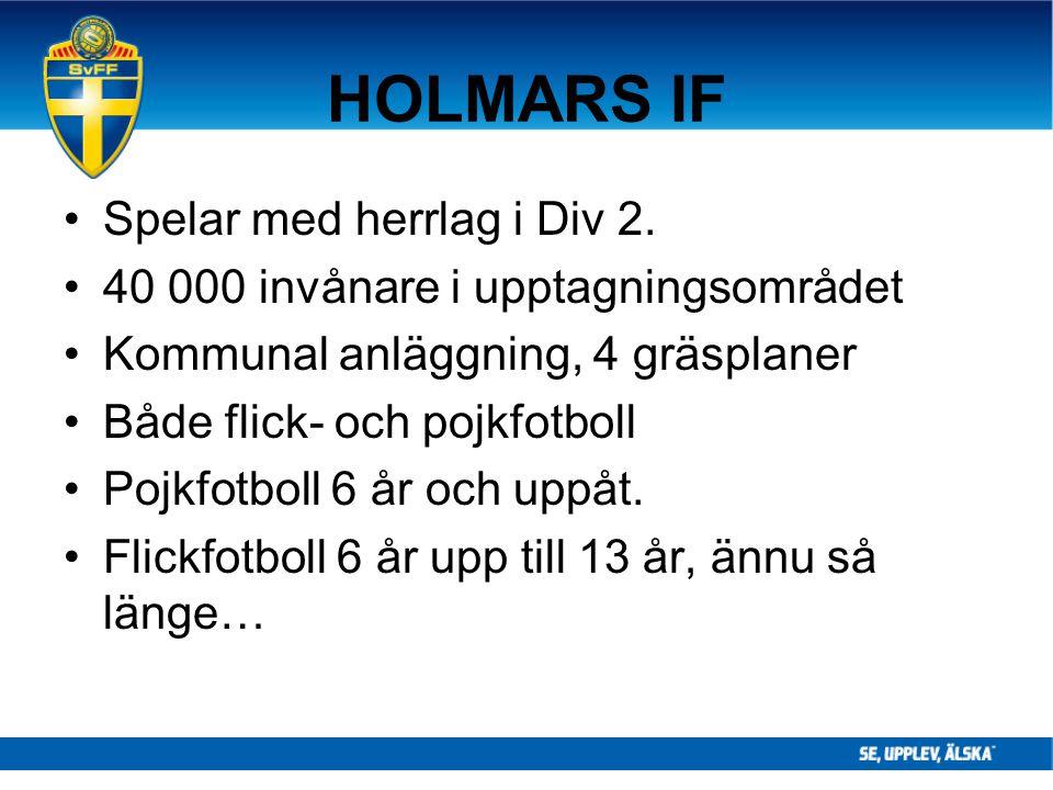 HOLMARS IF Spelar med herrlag i Div 2. 40 000 invånare i upptagningsområdet Kommunal anläggning, 4 gräsplaner Både flick- och pojkfotboll Pojkfotboll