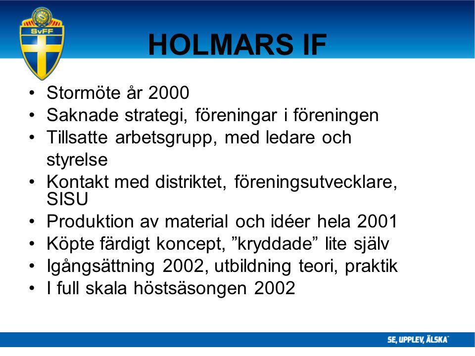 HOLMARS IF Stormöte år 2000 Saknade strategi, föreningar i föreningen Tillsatte arbetsgrupp, med ledare och styrelse Kontakt med distriktet, förenings