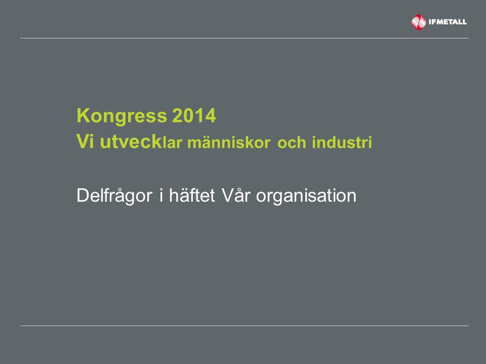 Kongress 2014 Vi utveck lar människor och industri Delfrågor i häftet Vår organisation