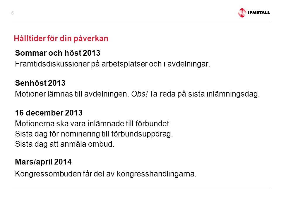 Hålltider för din påverkan Sommar och höst 2013 Framtidsdiskussioner på arbetsplatser och i avdelningar.