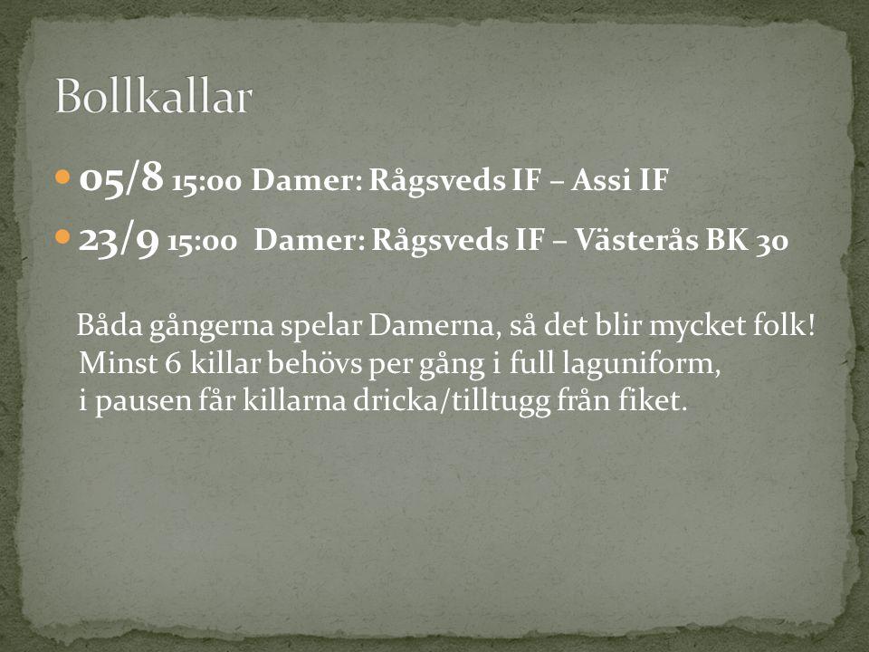 05/8 15:00 Damer: Rågsveds IF – Assi IF 23/9 15:00 Damer: Rågsveds IF – Västerås BK 30 Båda gångerna spelar Damerna, så det blir mycket folk! Minst 6