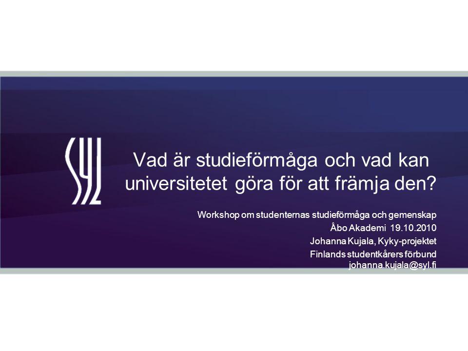 Syfte osallistuja –saa konkreettisen ja kokonaisvaltaisen kuvan opiskelukyvyn edistämisestä –ymmärtää opiskelukyvyn tarpeellisuuden –lisää ymmärrystään opiskelukykyyn ja sen edistämiseen liittyvistä haasteista ja niihin vaikuttamisesta Åbo Akademissa –osaa tukea opiskelukykyä omassa työskentelyssään