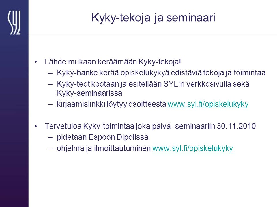 Kyky-tekoja ja seminaari Lähde mukaan keräämään Kyky-tekoja.
