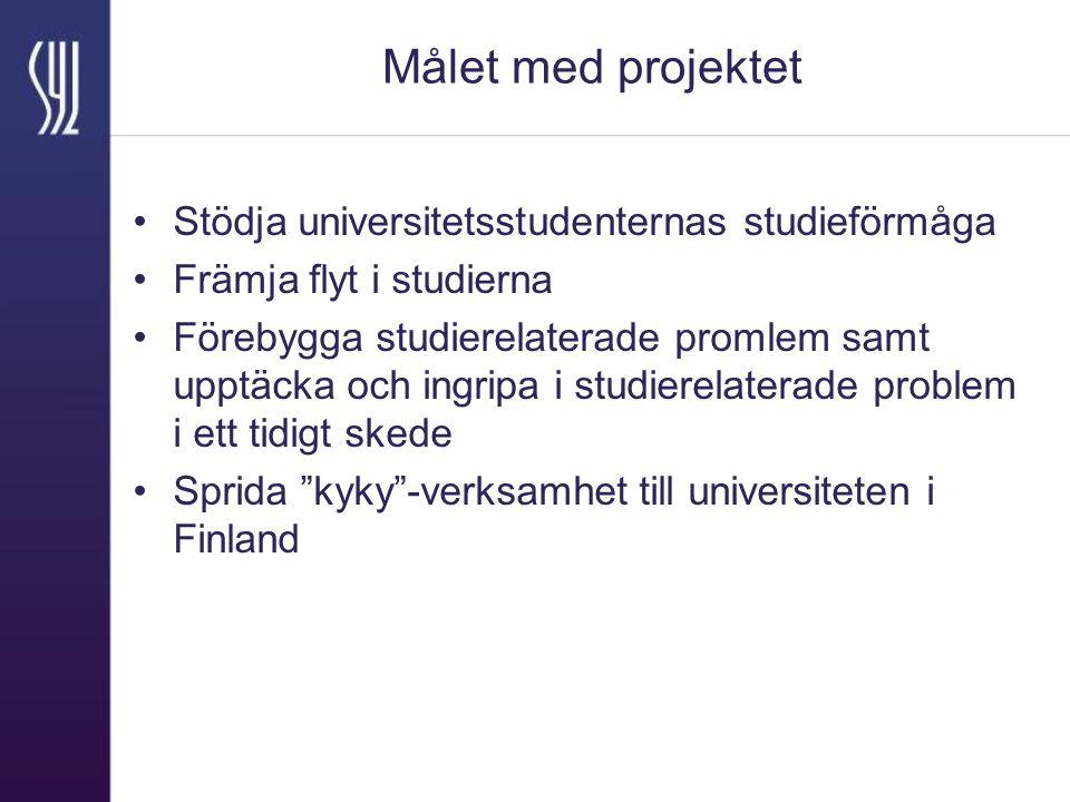 Målet med projektet Stödja universitetsstudenternas studieförmåga Främja flyt i studierna Förebygga studierelaterade promlem samt upptäcka och ingripa i studierelaterade problem i ett tidigt skede Sprida kyky -verksamhet till universiteten i Finland