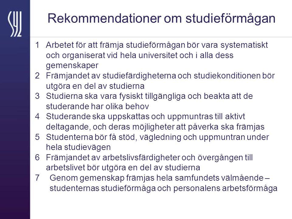 Rekommendationer om studieförmågan 1 Arbetet för att främja studieförmågan bör vara systematiskt och organiserat vid hela universitet och i alla dess gemenskaper 2 Främjandet av studiefärdigheterna och studiekonditionen bör utgöra en del av studierna 3 Studierna ska vara fysiskt tillgängliga och beakta att de studerande har olika behov 4 Studerande ska uppskattas och uppmuntras till aktivt deltagande, och deras möjligheter att påverka ska främjas 5 Studenterna bör få stöd, vägledning och uppmuntran under hela studievägen 6 Främjandet av arbetslivsfärdigheter och övergången till arbetslivet bör utgöra en del av studierna 7Genom gemenskap främjas hela samfundets välmående – studenternas studieförmåga och personalens arbetsförmåga