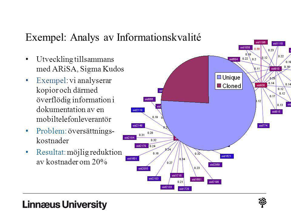 2/23 Exempel: Analys av Informationskvalité Utveckling tillsammans med ARiSA, Sigma Kudos Exempel: vi analyserar kopior och därmed överflödig information i dokumentation av en mobiltelefonleverantör Problem: översättnings- kostnader Resultat: möjlig reduktion av kostnader om 20%
