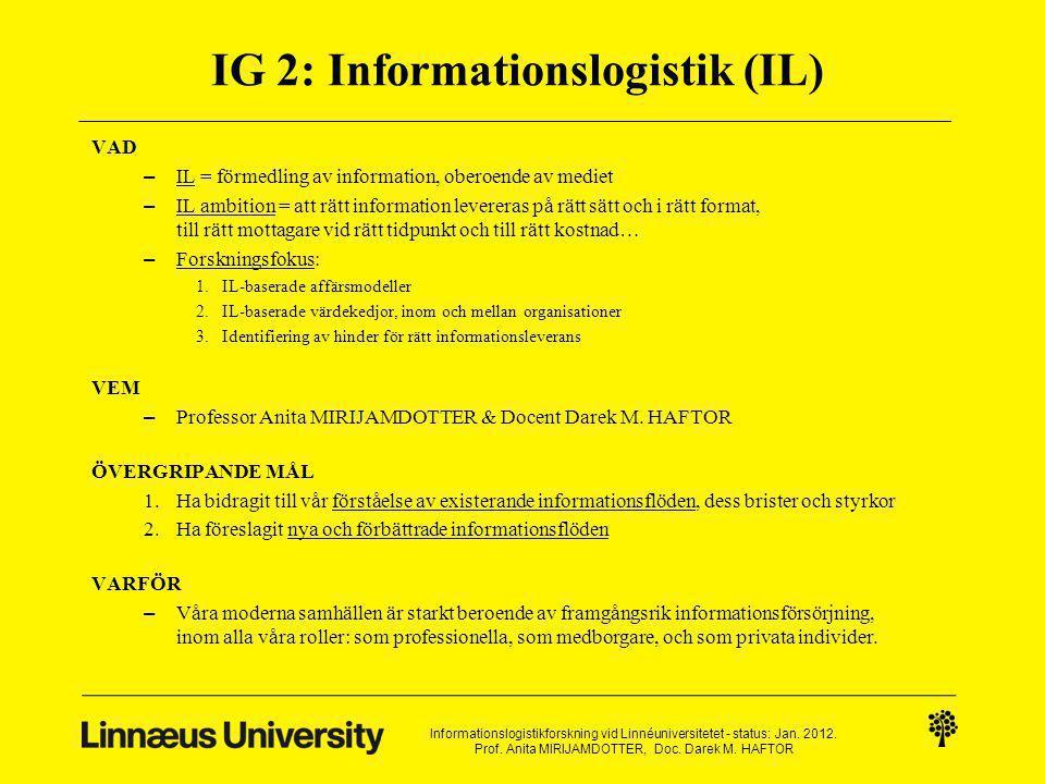 IG 2: Informationslogistik (IL) VAD – IL = förmedling av information, oberoende av mediet – IL ambition = att rätt information levereras på rätt sätt och i rätt format, till rätt mottagare vid rätt tidpunkt och till rätt kostnad… – Forskningsfokus: 1.IL-baserade affärsmodeller 2.IL-baserade värdekedjor, inom och mellan organisationer 3.Identifiering av hinder för rätt informationsleverans VEM – Professor Anita MIRIJAMDOTTER & Docent Darek M.