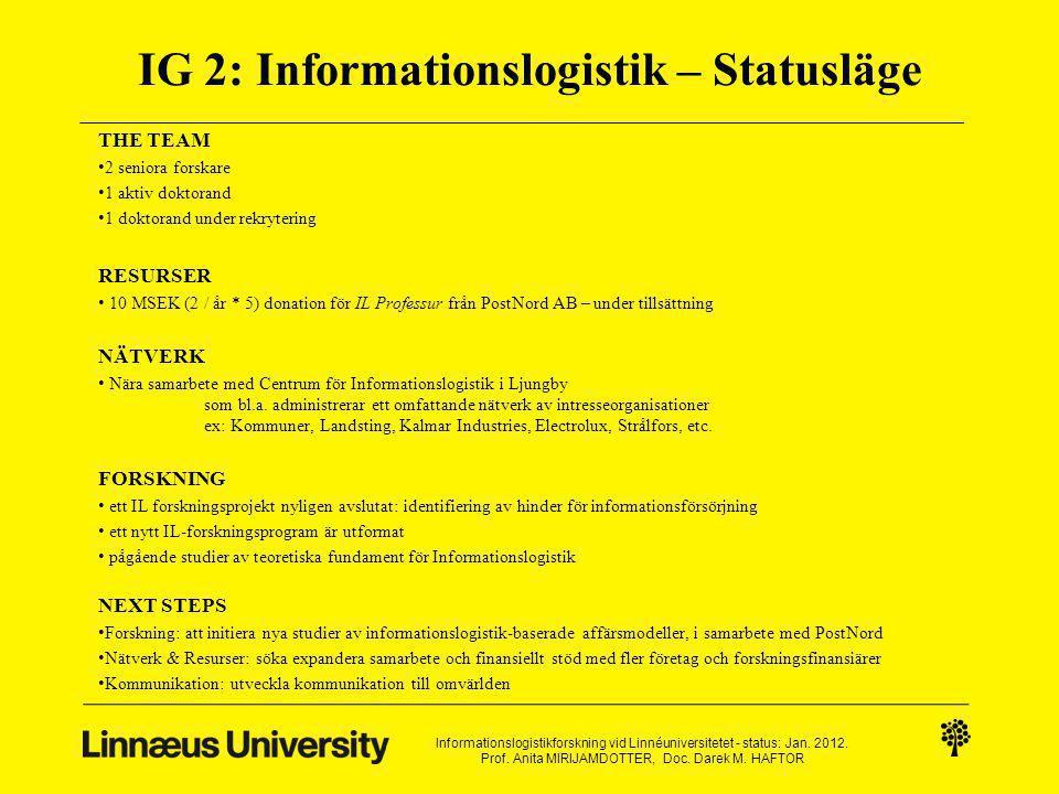 IG 2: Informationslogistik – Statusläge THE TEAM 2 seniora forskare 1 aktiv doktorand 1 doktorand under rekrytering RESURSER 10 MSEK (2 / år * 5) donation för IL Professur från PostNord AB – under tillsättning NÄTVERK Nära samarbete med Centrum för Informationslogistik i Ljungby som bl.a.