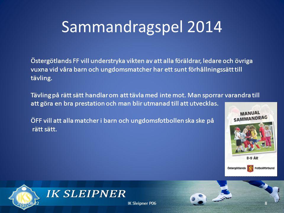 Sammandragspel 2014 2014-08-22IK Sleipner P068 Östergötlands FF vill understryka vikten av att alla föräldrar, ledare och övriga vuxna vid våra barn och ungdomsmatcher har ett sunt förhållningssätt till tävling.
