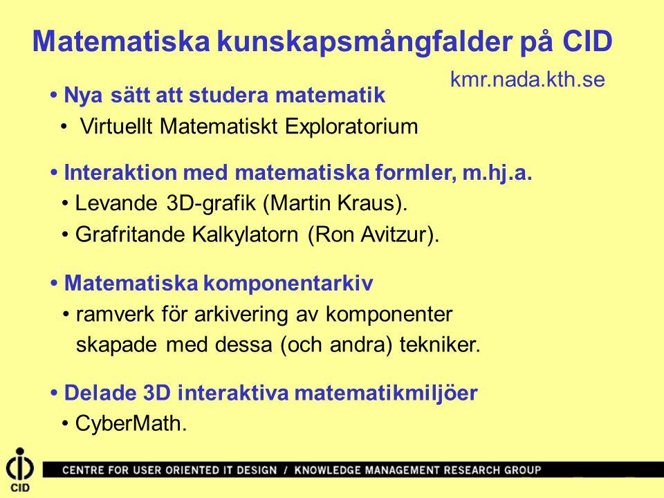 Matematiska kunskapsmångfalder på CID Matematiska komponentarkiv Nya sätt att studera matematik Interaktion med matematiska formler, m.hj.a.