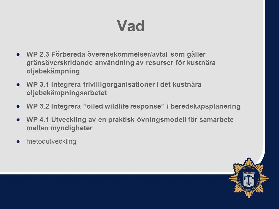 Vad ●WP 4.2 Utveckla befintlig kartläggning av känslighet för att passa operativ oljeutsläppsbekämpning ●Miljöatlas ur ett användarperspektiv ●WP 4.3 Utveckla ett forum för mellersta Östersjön (Central Baltic Sea).