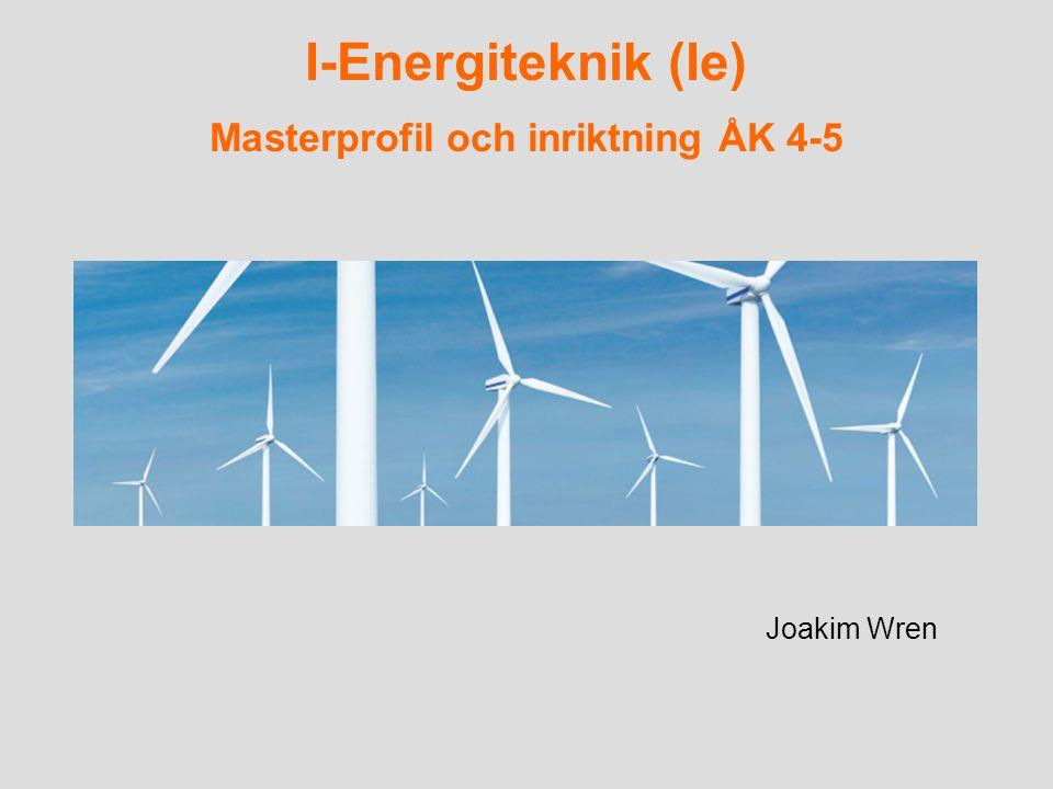 I-Energiteknik (Ie) Masterprofil och inriktning ÅK 4-5 Joakim Wren