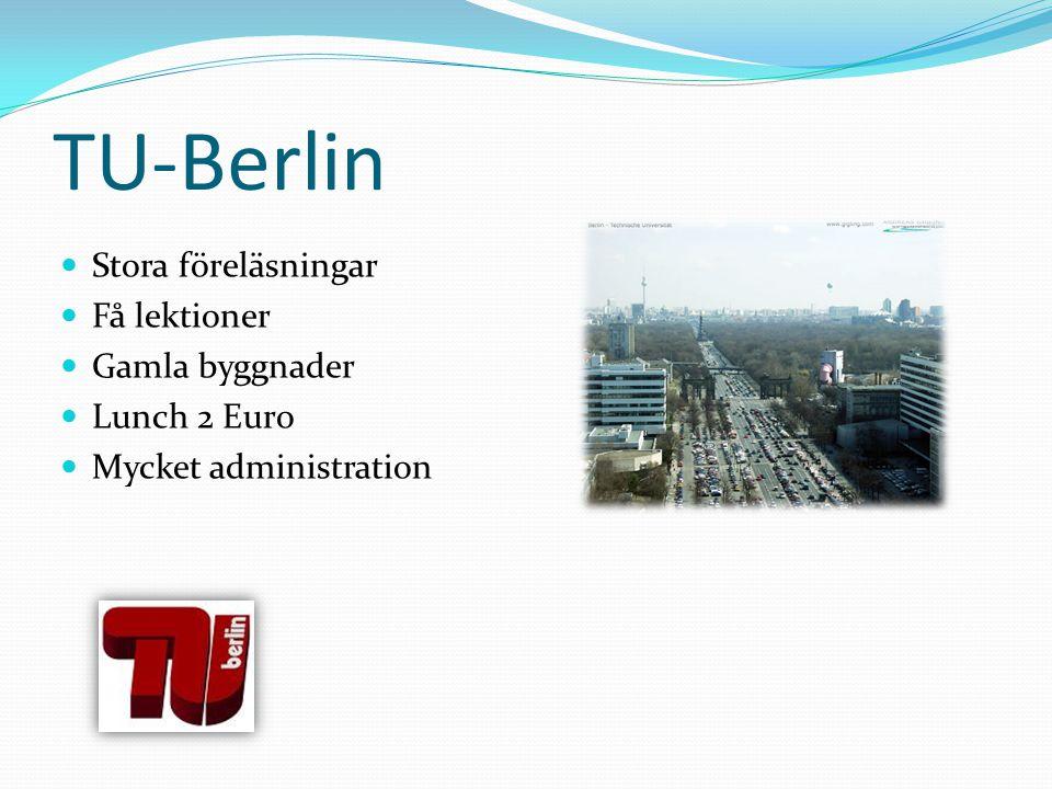 TU-Berlin Stora föreläsningar Få lektioner Gamla byggnader Lunch 2 Euro Mycket administration
