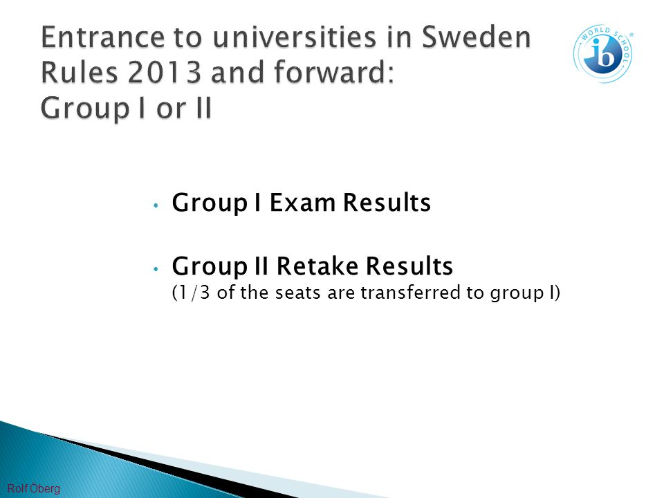 Group I Exam Results Group II Retake Results (1/3 of the seats are transferred to group I) Rolf Öberg