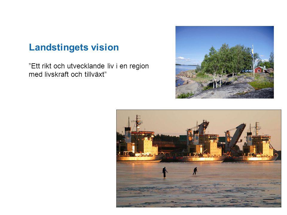 """Landstingets vision """"Ett rikt och utvecklande liv i en region med livskraft och tillväxt"""""""