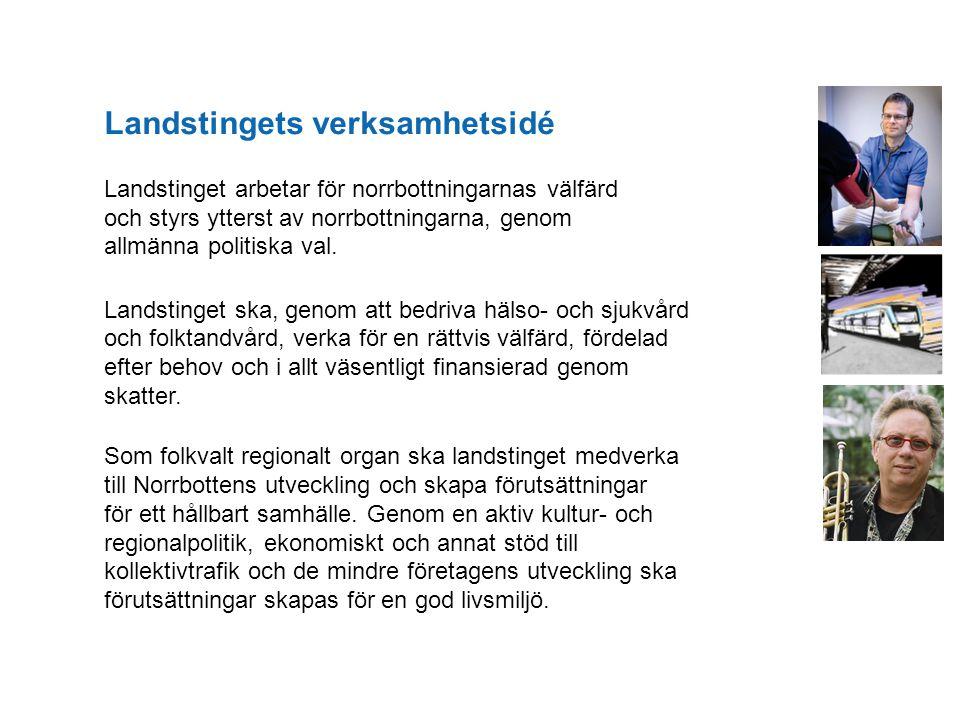Landstingets verksamhetsidé Landstinget arbetar för norrbottningarnas välfärd och styrs ytterst av norrbottningarna, genom allmänna politiska val. Lan