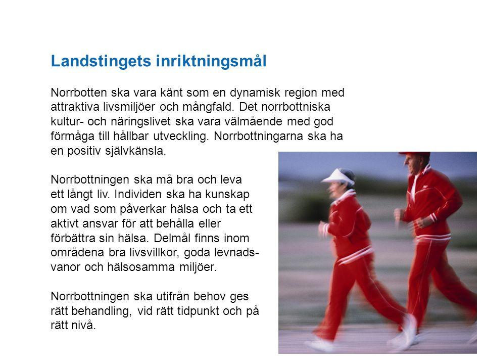 Landstingets inriktningsmål Norrbotten ska vara känt som en dynamisk region med attraktiva livsmiljöer och mångfald. Det norrbottniska kultur- och när