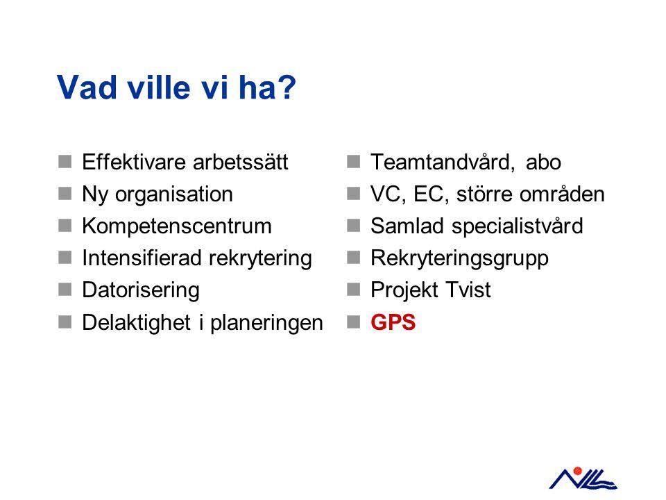 Förväntningar på GPS Helhetsgrepp över planering och uppföljning Engagera alla medarbetare Bättre koppling mellan planeringsnivåerna Verktyg för verksamhetsplanering Förbättra rapporteringen Underlag för prioriteringar Kontroll på ekonomin En röd tråd orsak - verkan