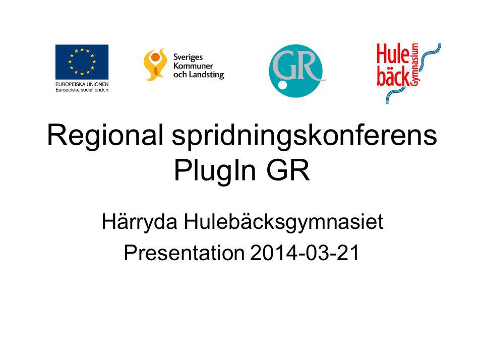 Regional spridningskonferens PlugIn GR Härryda Hulebäcksgymnasiet Presentation 2014-03-21
