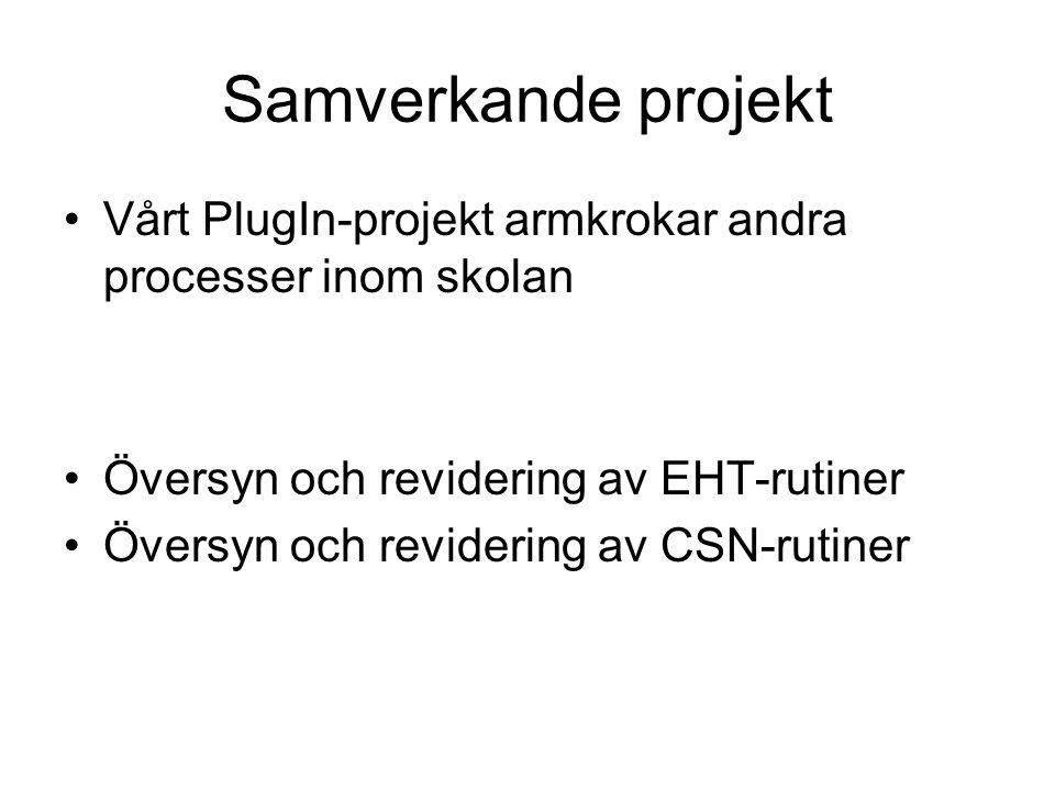 Samverkande projekt Vårt PlugIn-projekt armkrokar andra processer inom skolan Översyn och revidering av EHT-rutiner Översyn och revidering av CSN-ruti