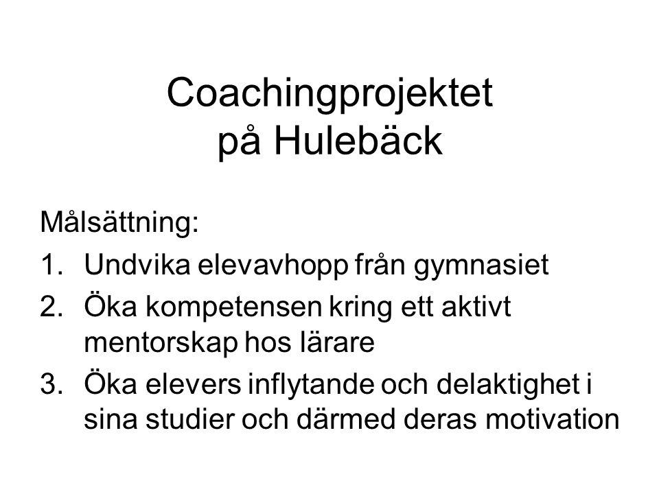 Coachingprojektet på Hulebäck Målsättning: 1.Undvika elevavhopp från gymnasiet 2.Öka kompetensen kring ett aktivt mentorskap hos lärare 3.Öka elevers