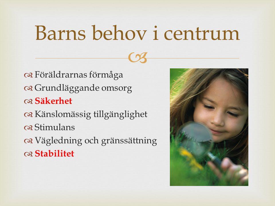   Föräldrarnas förmåga  Grundläggande omsorg  Säkerhet  Känslomässig tillgänglighet  Stimulans  Vägledning och gränssättning  Stabilitet Barns