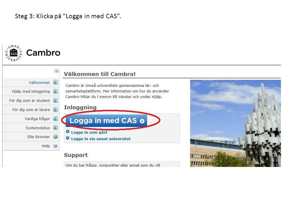 Steg 3: Klicka på Logga in med CAS .