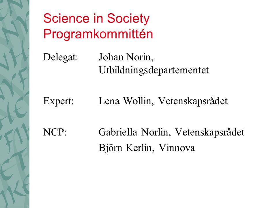 Science in Society Programkommittén Delegat:Johan Norin, Utbildningsdepartementet Expert:Lena Wollin, Vetenskapsrådet NCP:Gabriella Norlin, Vetenskapsrådet Björn Kerlin, Vinnova