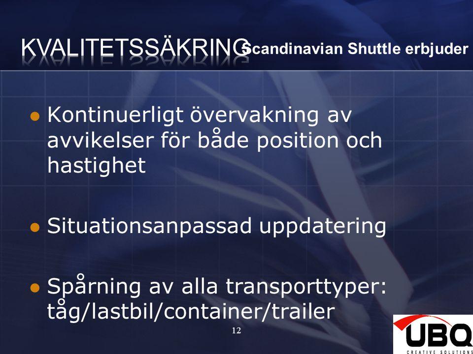 12 Kontinuerligt övervakning av avvikelser för både position och hastighet Situationsanpassad uppdatering Spårning av alla transporttyper: tåg/lastbil/container/trailer Scandinavian Shuttle erbjuder