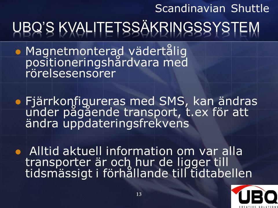 13 Magnetmonterad vädertålig positioneringshårdvara med rörelsesensorer Fjärrkonfigureras med SMS, kan ändras under pågående transport, t.ex för att ändra uppdateringsfrekvens Alltid aktuell information om var alla transporter är och hur de ligger till tidsmässigt i förhållande till tidtabellen Scandinavian Shuttle