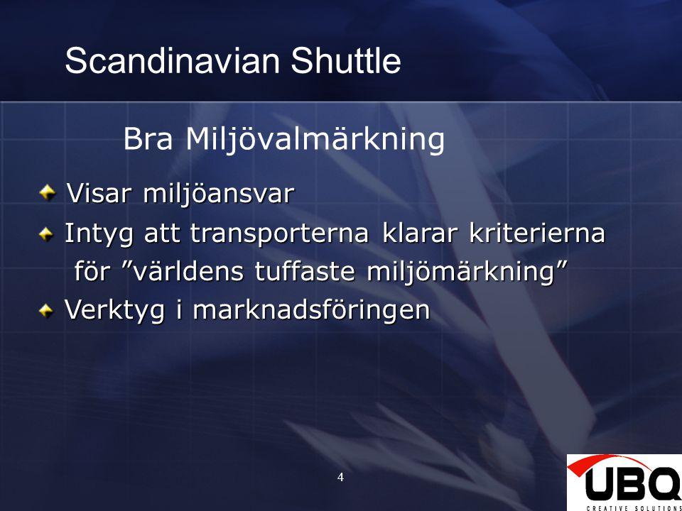 4 Scandinavian Shuttle Bra Miljövalmärkning Visar miljöansvar Visar miljöansvar Intyg att transporterna klarar kriterierna Intyg att transporterna klarar kriterierna för världens tuffaste miljömärkning för världens tuffaste miljömärkning Verktyg i marknadsföringen Verktyg i marknadsföringen