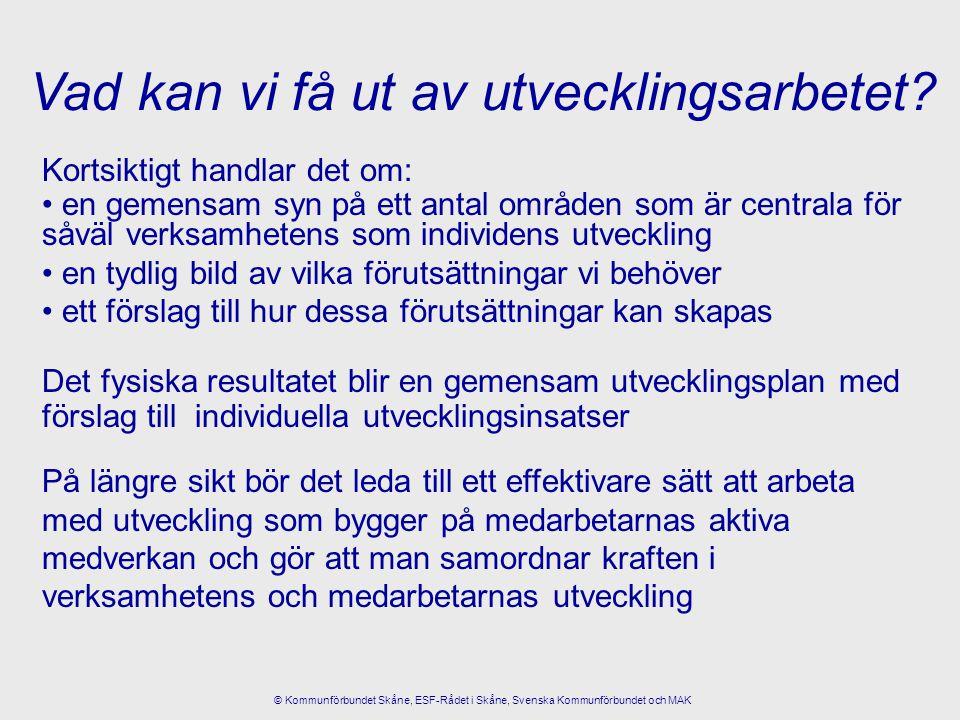 Synsätt Arbetssätt Stöd Tre medel i utvecklingsarbetet: © Kommunförbundet Skåne, ESF-Rådet i Skåne, Svenska Kommunförbundet och MAK