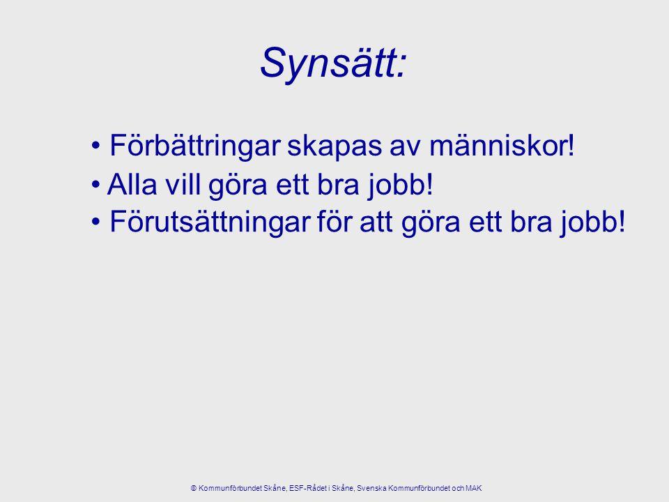Förbättringar skapas av människor! Alla vill göra ett bra jobb! Synsätt: Förutsättningar för att göra ett bra jobb! © Kommunförbundet Skåne, ESF-Rådet