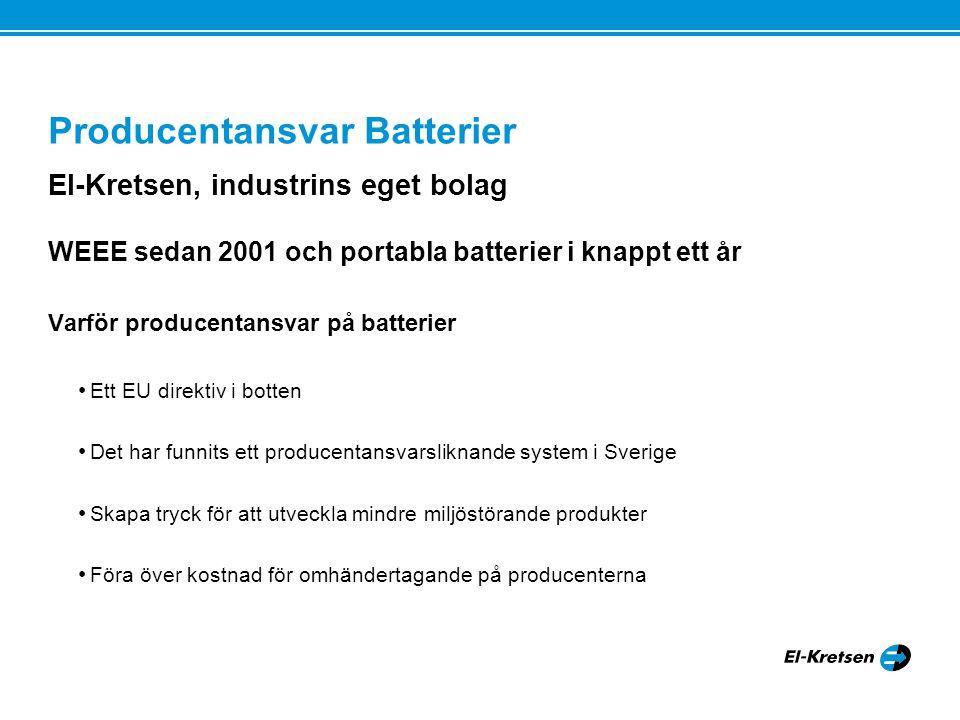 Producentansvar Batterier El-Kretsen, industrins eget bolag WEEE sedan 2001 och portabla batterier i knappt ett år Varför producentansvar på batterier Ett EU direktiv i botten Det har funnits ett producentansvarsliknande system i Sverige Skapa tryck för att utveckla mindre miljöstörande produkter Föra över kostnad för omhändertagande på producenterna