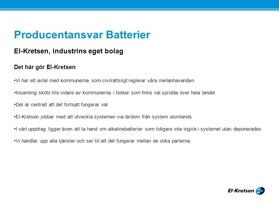 Producentansvar Batterier El-Kretsen, industrins eget bolag Vad händer under den närmaste tiden Vi kommer att utvärdera den struktur som nu finns och kommer att utveckla den med våra erfarenheter från WEEE Vi kommer att göra en ny upphandling av förbehandling med de erfarenheter som vi vunnit Vi skall se till att skapa ett miljömässigt korrekt system med hög kostnadseffektivitet Vi är lyhörda för producenternas synpunkter och behov Er kontaktyta är info@el.kretsen.se samt medarbetarna på Information, Kommunikation, Marknadinfo@el.kretsen.se Tack för mig!!