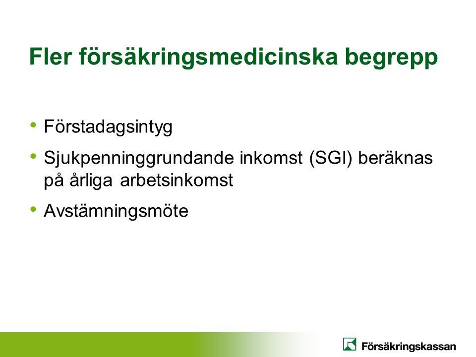 Fler försäkringsmedicinska begrepp Förstadagsintyg Sjukpenninggrundande inkomst (SGI) beräknas på årliga arbetsinkomst Avstämningsmöte