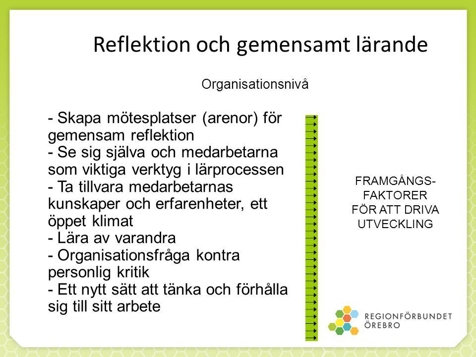 Reflektion och gemensamt lärande - Skapa mötesplatser (arenor) för gemensam reflektion - Se sig själva och medarbetarna som viktiga verktyg i lärproce