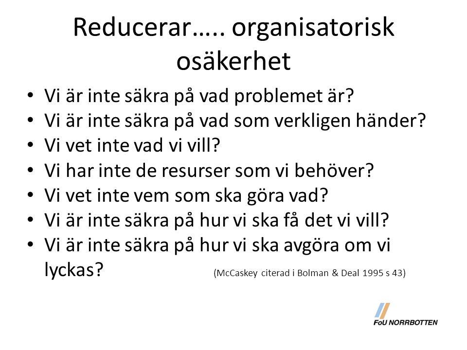 Reducerar….. organisatorisk osäkerhet Vi är inte säkra på vad problemet är? Vi är inte säkra på vad som verkligen händer? Vi vet inte vad vi vill? Vi