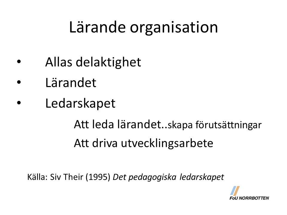 Lärande organisation Allas delaktighet Lärandet Ledarskapet Att leda lärandet.. skapa förutsättningar Att driva utvecklingsarbete Källa: Siv Their (19