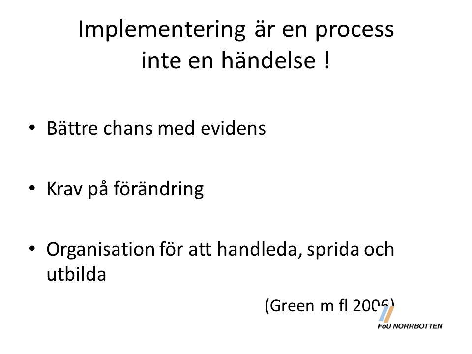 Implementering är en process inte en händelse ! Bättre chans med evidens Krav på förändring Organisation för att handleda, sprida och utbilda (Green m