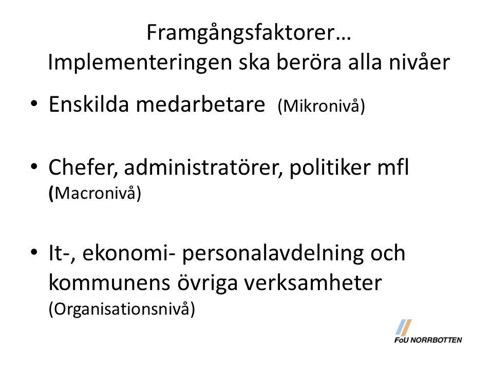 Framgångsfaktorer… Implementeringen ska beröra alla nivåer Enskilda medarbetare (Mikronivå) Chefer, administratörer, politiker mfl (Macronivå) It-, ek