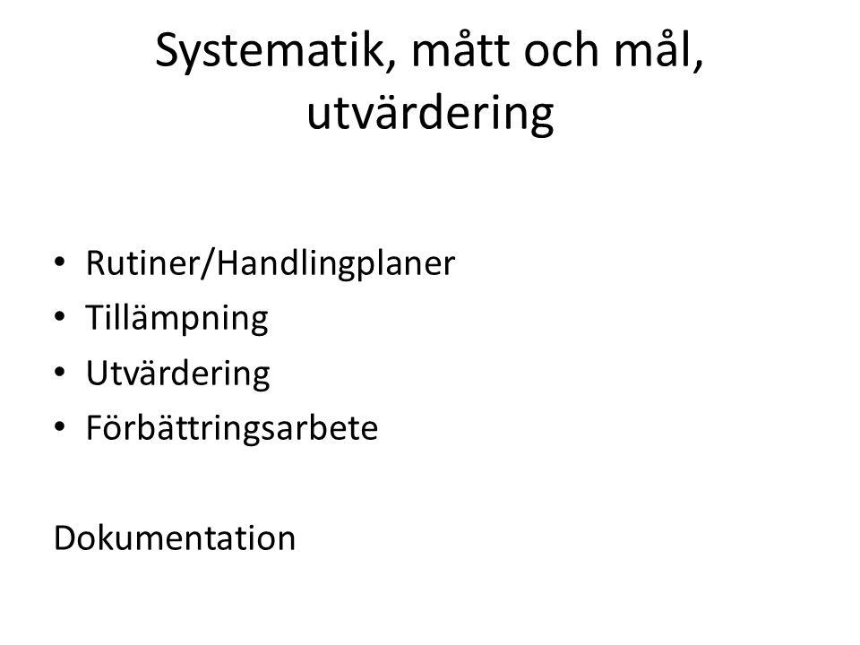 Systematik, mått och mål, utvärdering Rutiner/Handlingplaner Tillämpning Utvärdering Förbättringsarbete Dokumentation