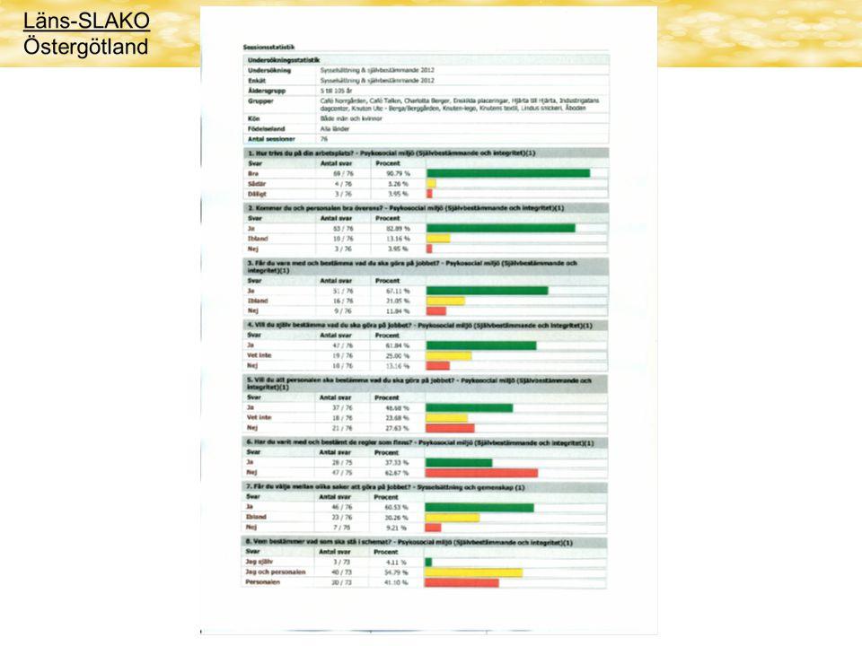 Resultat Stapeldiagram Spindeldiagram Presentera resultat för brukarna Presentera resultat för personal Analyser Åtgärdsplaner
