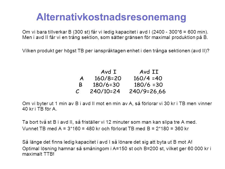 Alternativkostnadsresonemang Om vi bara tillverkar B (300 st) får vi ledig kapacitet i avd I (2400 - 300*6 = 600 min). Men i avd II får vi en trång se